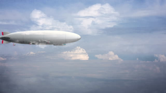 Legendary huge zeppelin airship on sky with clouds. Stylized flying balloon. video