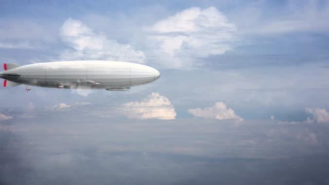efsanevi büyük zeppelin zeplin bulutlu gökyüzü üzerinde. stilize uçan balon. - zeplin stok videoları ve detay görüntü çekimi