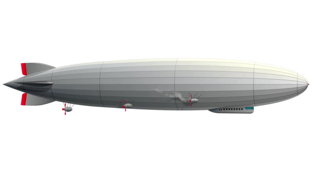 Legendary zeppelin airship. Stylized flying balloon. Dirigible with rudder and propellers. video