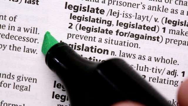 legislation highlighted in green - lagbok bildbanksvideor och videomaterial från bakom kulisserna