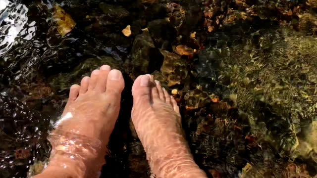 legs in the mountain river