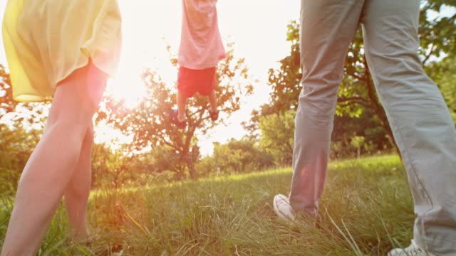 slo mo ben av en liten toddler höjs i luften medan du kör över en äng gräs med mamma och pappa - enbarnsfamilj bildbanksvideor och videomaterial från bakom kulisserna