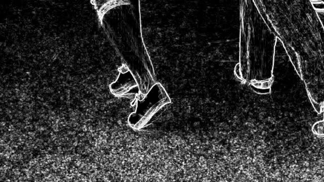 Legs of people dancing jazz. Stylized graphics