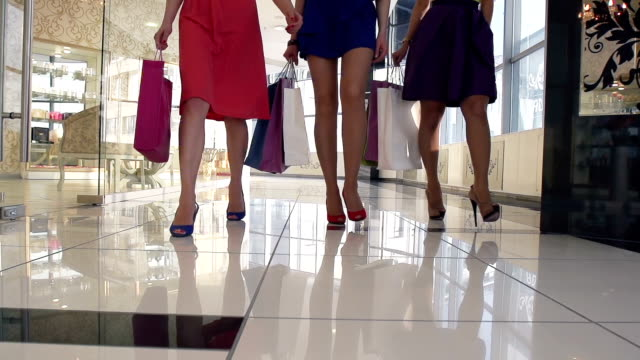 Legs of shoppers video