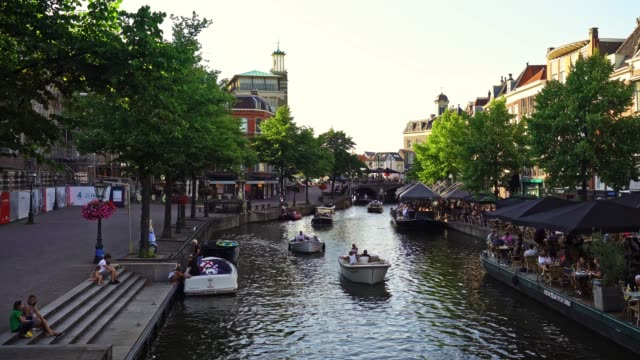 leiden canal at dusk leiden canal at dusk dutch architecture stock videos & royalty-free footage