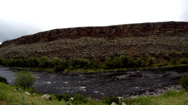 Leisurely Flow of Mongolian Crystal Clear River in The Midst of a Vast Steppe video