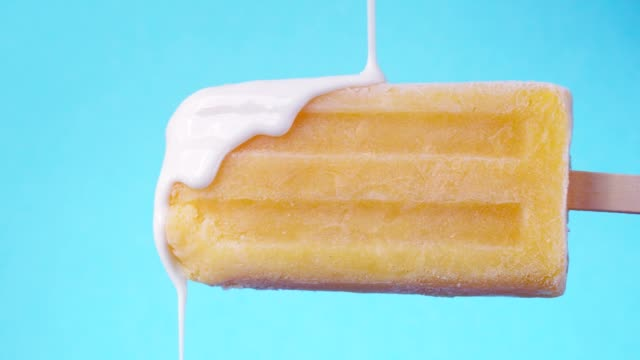 Lemon Fruit Popsicle with White Chocolate Topping