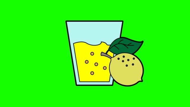 lemon juice animation green screen - лимонный сок стоковые видео и кадры b-roll