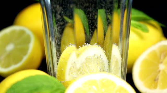 Lemon mineral water Beverage Lemonade tonic water stock videos & royalty-free footage