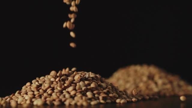 vídeos y material grabado en eventos de stock de slow motion: granos de lentejas cayendo sobre una mesa-close up - estilo de vida rural