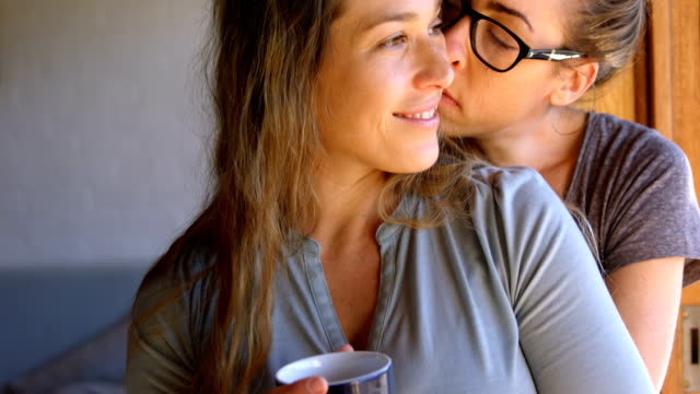 Lesbian couple embracing each other at home 4k Happy lesbian couple embracing each other at home 4k lesbian stock videos & royalty-free footage