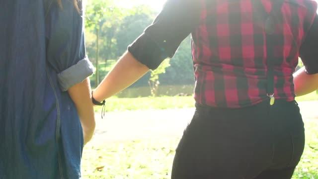 Lesbian couple in love walking video