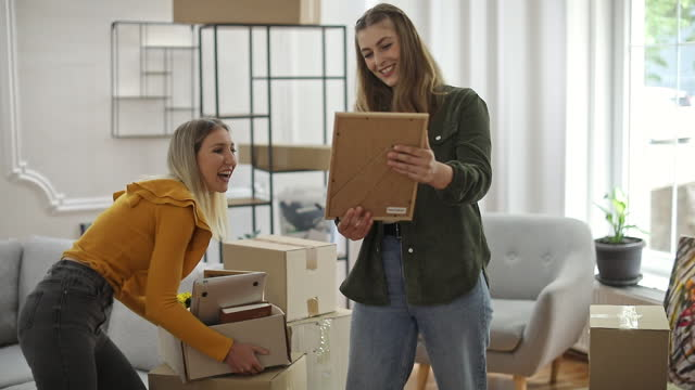 Lesbian couple moving in new home video