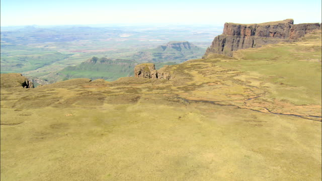 Lesotho Border Into Royal Natal National Park  - Aerial View - KwaZulu-Natal,  South Africa video