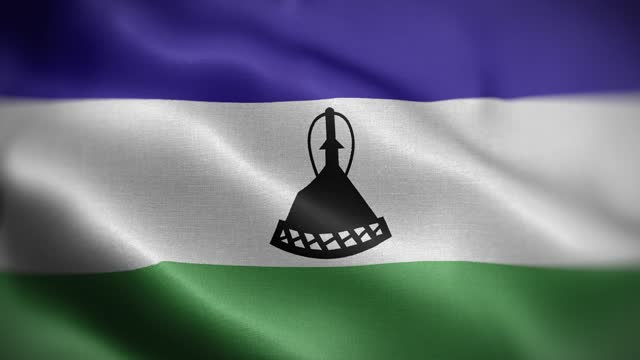 Lesotho Flag Textured Waving Front Background HD