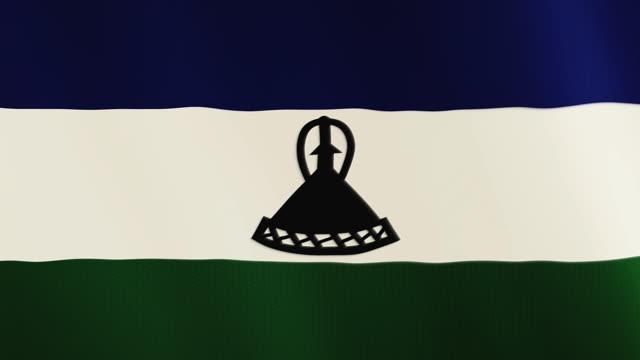 Lesotho flag waving animation. Full Screen. Symbol of the country video
