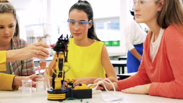 Lesson in Robotics Teenagers getting a lesson in robotics in high school. middle school teacher stock videos & royalty-free footage