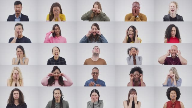 Let it all out Composite 4k video footage of young people crying against a grey background multiple image stock videos & royalty-free footage