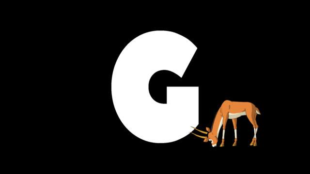 buchstabe g und gazelle im vordergrund - comic font stock-videos und b-roll-filmmaterial