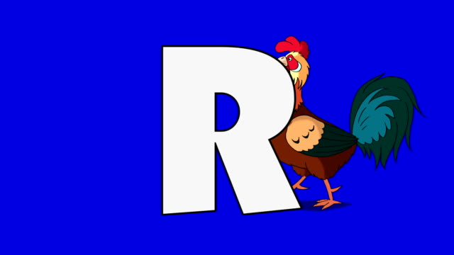 Letter R and Rooster (background) - video