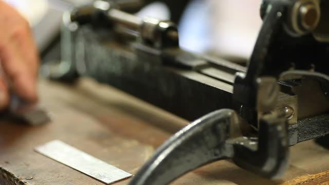 letterpress printer trimming lead slugs video