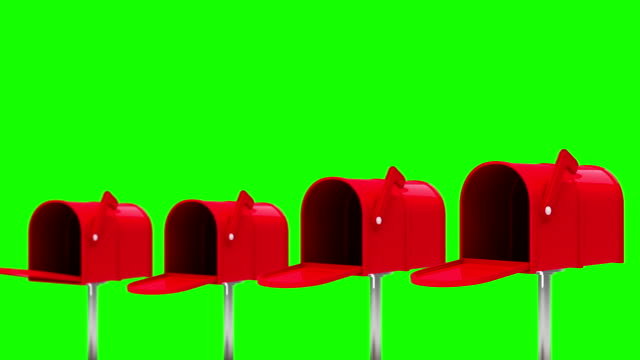 Letters coming out of the mailboxes on green background video