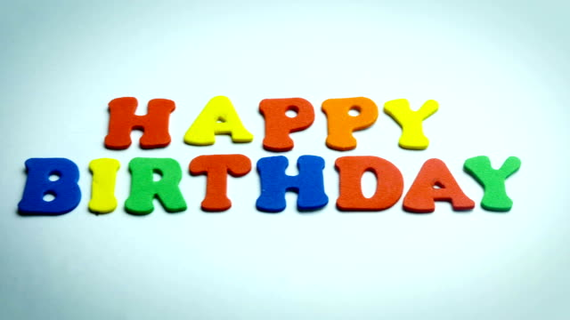 Letters Happy Birthday in White Background Letters Happy Birthday in White Background camera moving sentencing stock videos & royalty-free footage