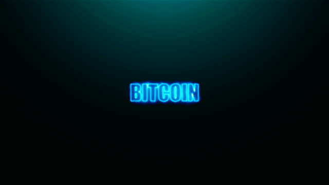 vídeos de stock e filmes b-roll de letters of bitcoin text on background with top light, 3d rendering background - bit código binário