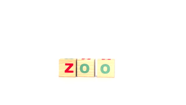 Letters on cubes make up zoo word
