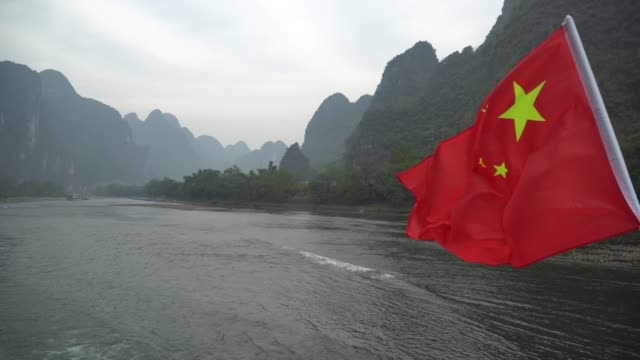 Li River Cruise with Chinese Flag video