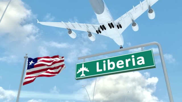 liberia, approach of the aircraft to land - liberia video stock e b–roll