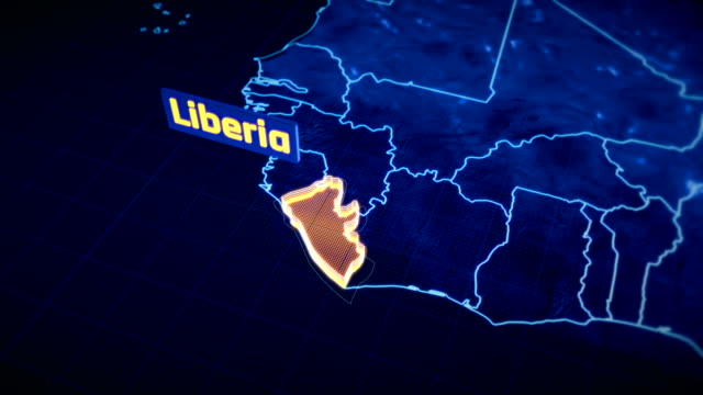 liberia country border 3d visualization, modern map outline, travel - liberia video stock e b–roll