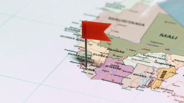 liberia with pin - geografia fisica video stock e b–roll