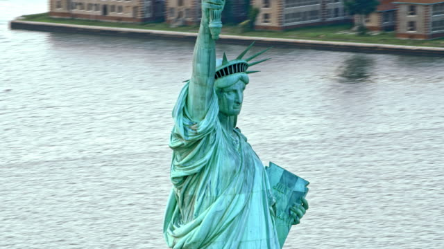 AERIAL Liberty Enlightening the World in New York Harbor