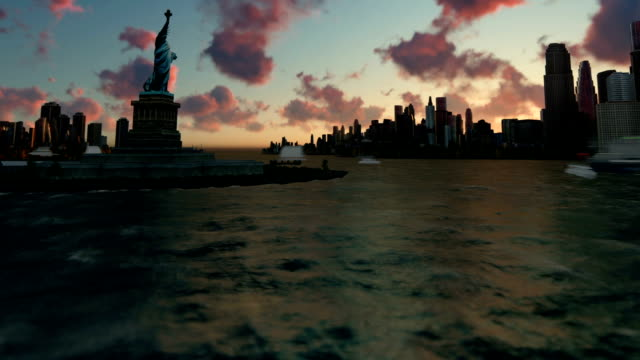 Liberty Statue at Ellis Island with New York skyline and vessels, tilt, time lapse