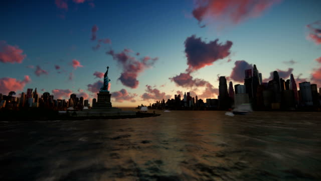 Liberty Statue at Ellis Island with New York skyline and vessels, time lapse 4K