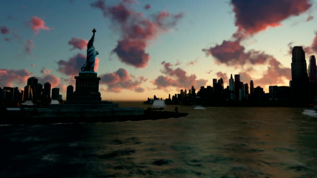 Liberty Statue at Ellis Island with New York skyline and vessels, time lapse