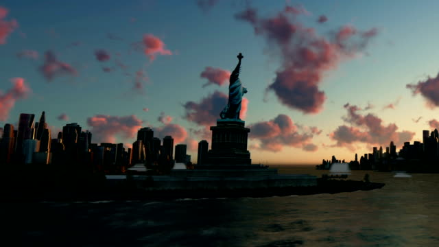 Liberty Statue at Ellis Island with New York skyline and vessels, panning, time lapse