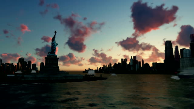 Liberty Statue at Ellis Island with New York skyline and vessels, zoom out, time lapse