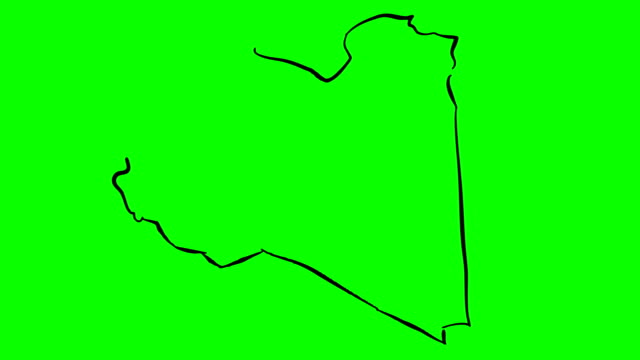 libya drawing colored map on green screen isolated whiteboard - libia video stock e b–roll