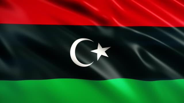 bandiera della libia - libia video stock e b–roll