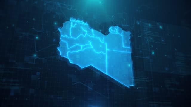 mappa libia con regioni su sfondo animato blu 4k uhd - libia video stock e b–roll