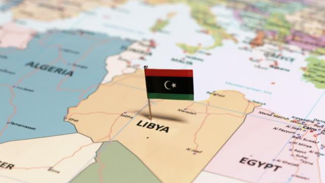 libya with national flag - libia video stock e b–roll