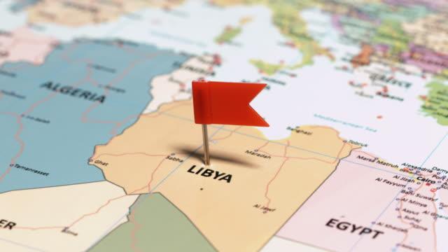 libya with pin - libia video stock e b–roll