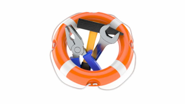 Life buoy with work tools Life buoy with work tools isolated on white background wrench stock videos & royalty-free footage