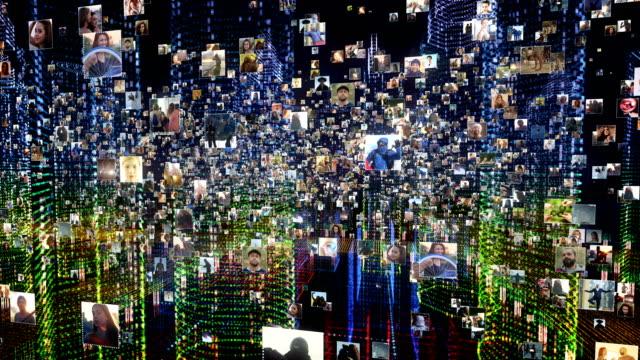 life in holographic city. global networking - голографический стоковые видео и кадры b-roll