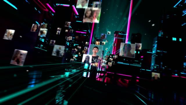 leben in der holographischen stadt. globale vernetzung - netzgewebe stock-videos und b-roll-filmmaterial
