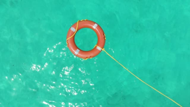 Life Rescue Buoy in Tropical Water Aerial