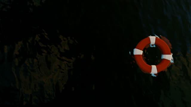 vídeos de stock, filmes e b-roll de boias de vida flutuando sobre o mar e tubarões nadando, diminuir o zoom - flutuando na água