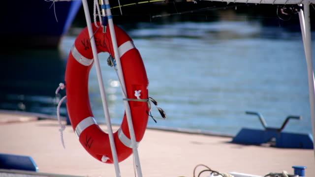 Lifebuoys on boat